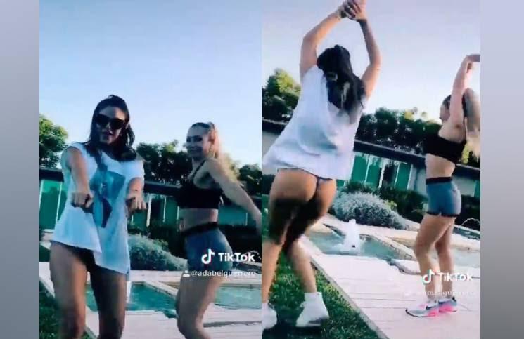 Celeste Muriega bailó en colaless y Adabel Guerrero la siguió en microshort