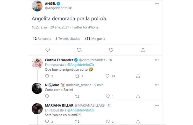 Cinthia Fernández tuvo problemas con la policía y llamó a su ex, Martín Baclini