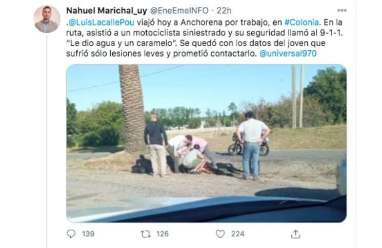 Transitaba en su moto, tuvo un accidente y el presidente uruguayo lo auxilió
